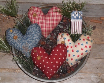 4 Primitive Americana July 4 Patriotic USA LOVE Red White & Blue Rustic Fabric Heart Ornies Ornaments Tucks Bowl Fillers