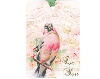 Vintage Bird Gift Tags , Shabby Tags , Chic Tags , Pink Tags , Pink Bird Tags , For You Tags
