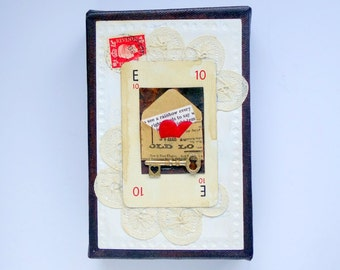 Small mixed media original altered art canvas. Vintage postcard/Love Heart/Lace/Stamp/Key. Red/white/chocolate brown