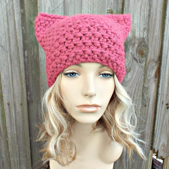 Pink Cat Hat - Thermal Crochet Womens Winter Beanie in Raspberry - Pink Pussyhat Project Pink Pussy Hat - READY TO SHIP