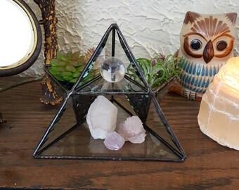Stained Glass Pyramid Air Planter. Succulent Planter.  Display Shelf. Jewelry Storage. Glass Jewelry Display Shelf. Housewarming Gift.