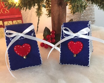 Sweetheart Heart Gift Bag- Mini Blue and White Felt Gift Bag