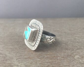 Turquoise ring - size 8 ring - campitos turquoise ring - turquoise jewelry - large stone ring - sterling silver ring - unique ring