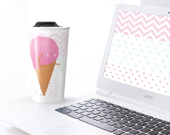 Strawberry ice cream cone - Travel mug for hot or cold beverages