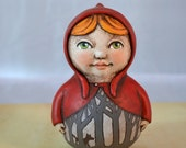 Little Red Riding Hood Original Hand Painted Folk Art Doll Paper Mache Sculpture OOAK