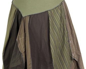 DrabLove: Khaki Upcycled Asymmetric Skirt