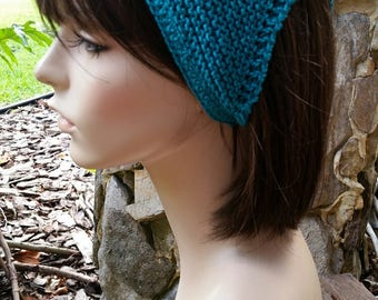 hand knit Bandana dorag kerchief, women accessories, head wrap, head scarf, headband, triangle scarf ~ gypsy spirit knit ~ teal turquoise