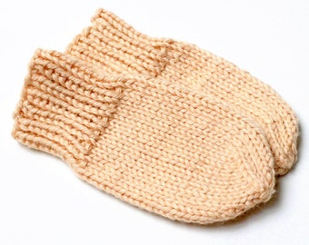 Peach Newborn Baby Mittens. No Thumb Preemie Mittens. Cotton Blend Thumbless Winter Mitts. Hand Warmers. Mittens on String. Baby Shower Gift