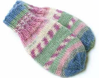 Baby Mittens. Infant Boy or Girl 3 to 6 Months Thumbless Mini Mitts. No Thumb Knit Wool Winter Hand Warmers. Mittens With or Without String