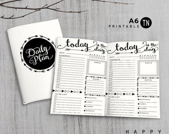 Printable A6 Insert - A6 Traveler's Notebook Insert - A6 daily insert, Daily Traveler's Notebook Insert - Arrow
