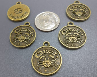 6 Cancer Charms bronze brass tone metal zodiac (H8141)