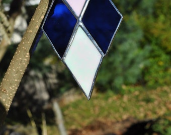 Geometric shaped-  diamond shaped-ornament-blue and white iridescent glass