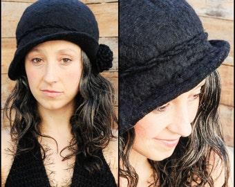 1920s style, Felted Wool Hat, Black Wool Hat, Cloch, Warm Hat, Pom Pom Hat, Womans Black Hat, Flapper Hat, Felt Hat, 1920s Hat, Cloch Hat