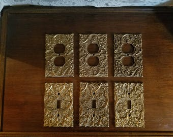 SALE Vintage 1950's Set of 6 Ornate Gold Outlet and Switchplate Light Switch Covers
