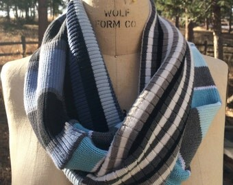 SALE priced Cotton Infinity Scarf Up Cycled Sweater Scarf