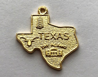 """Big Texas Charm Gold Plated Brass 3/4"""", Sold Individually"""