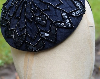 Metropolis: Elegant Gatsby Art Deco black beaded hat; vintage style millinery; geometric cocktail headpiece with mixed sequin and beading