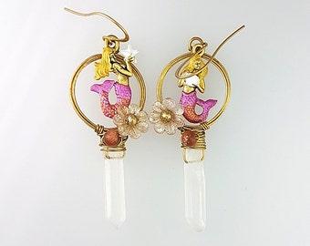 Pink Mermaid Earrings, Mismatch Earrings, Mermaid Hoop Earrings, Clear Point Quartz Earrings, Pink Hoop Earrings, Pink Fantasy Earrings