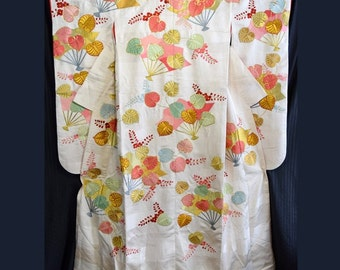 Vintage Japanese Woman's Wedding Kimono Uchikake Bridal Dress - Festive Fans