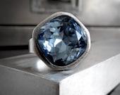 Sky Blue Crystal Ring, Swarovski Deep Blue Crystal Ring, Modern Cast Antique Silver Adjustable Ring, Modern Jewelry 4470