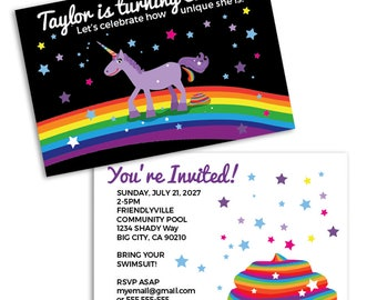 Unicorn Party Invitation! (10 cards)