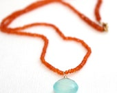 Carnelian and Chalcedony Necklace/Handmade Jewelry/Gift Ideas