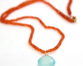 Carnelian and Chalcedony Necklace/Beaded Carnelian/Chalcedony Pendant/Handmade Jewelry/Gift for Her/Jewelry/Necklace/Spring Jewelry