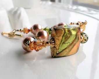 Murano Glass Bracelet, Venetian Rose Gold Bracelet, Murano Jewelry, Venetian Jewelry, Green Copper Rose Gold Murano Statement Bracelet Pearl