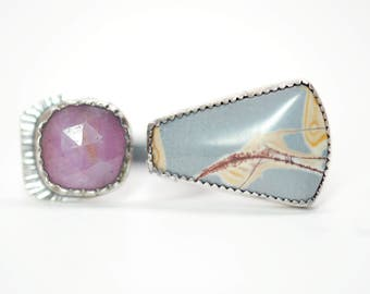 Sonoran princess ring #2 - natural pink sapphire - sonoran rhyolite - sterling silver ring - double stone