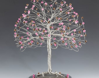 Tree Cake Topper with Swarovski Crystal Elements Pink and Brown on Silver Gold or Copper Tone Wire Rose and Smoked Topaz