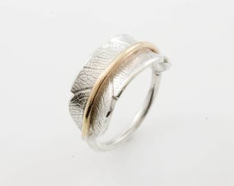 Bodhi Leaf Band with Gold Fill, Leaf Ring, Bodhi Ring, Silver Ring