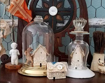 Miniture Cottage, Tiny House, Paper Home, Housewarming Gift, Wedding Decor, Photo Styling, Office Display, Tiny Shadowbox, Vintage Decor