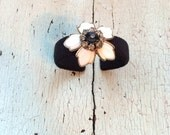 For Sabrina: Blossom Adjustable Black and White Cuff