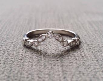 Diamond Estelle and Caroline Matching Wedding Band Scalloped Eternity Milgrain Engagement Ring Custom Setting 14K Gold