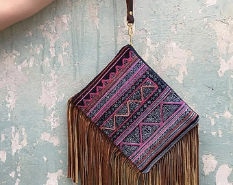 Leather Fringe Bag. Boho Fringe Bag. Tribal Bag. Wristlet Clutch.