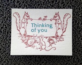 woodland animals thinking of you letterpress card