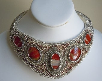 Red Jasper Beaded Necklace, Embroidered Necklace, Egyptian Beaded Collar, Bead Embroidery
