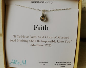Silver Faith of a Mustard Seed Necklace - Faith Charm, Small round Resin Charm, Simple Everyday Necklace, Inspirational Jewelry, Quote