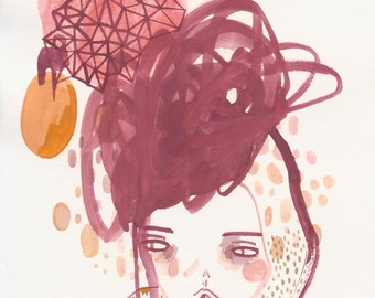 original art, painting, illustration, drawing,  overwhelmed sometimes