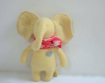 Handmade Elephant stuffed small yellow elephant doll upcycled cashmere sweater eco baby gift soft plush toy elephant bubynoa Elifants