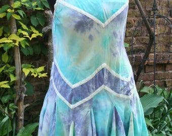 Hippie tie dye Indonesian short dress blue purple large rayon