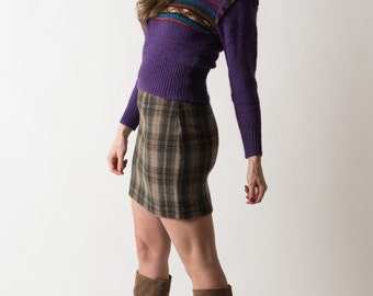 Vintage Grape Cowl Neck Sweater (Size XS)