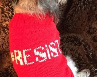 New #RESIST Dog Sweater -- Anti-Trump -- Protest -- ACLU Donation