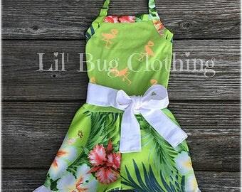 Hawaiian Luau Girl Romper Outfiti-Hawaiian Luau Summer Girls Flamingo Romper Outfit, Hawaiian Luau 1 Piece Hibiscus Flower Toddler Girl