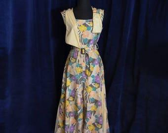 RARE!! Vintage 1920s 1930s Art Deco Cotton Jumpsuit Beach Pajamas - Size Small