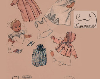 1940s Infants' Layette With Carry-All Diaper Bag McCall 1098 Vintage 40s Sewing Pattern Size 1