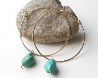 Turquoise Earrings, Gold Hoop Earrings, Simple Gold Filled Hoops With Stone Beads