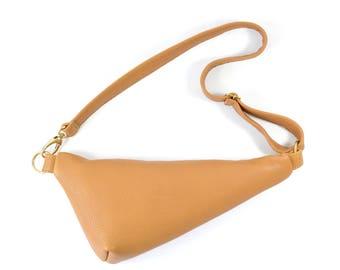 Emi - Handmade Tan Brown Leather Shoulder Bag Fanny pack Zip Pouch Purse