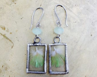 Bird Lovers Real Feather Green Earrings