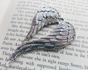 Double Angle Wing Pendant, Silver Wings Big Ornament Pendant, Large wing Pendant Supply